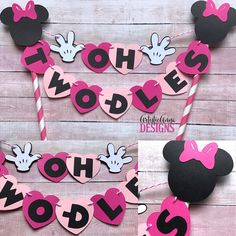 Minnie Mouse Birthday Age Cake Bunting Topper  1st Birthday
