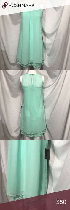 Flawless Layered Frock Seafoam Chiffon LaceTrimmed GORGEOUS midi dress!!!!  This is my all time favorite color Seafoam or mint green!  Awesome 1930's flapper vibe with the lace trim, gorgeous pleats, and pearl accented eyelet in the back! I.N. Sanfrancisco Dresses Midi