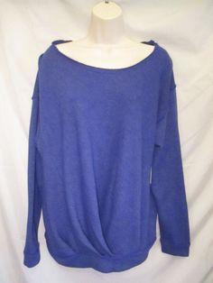 0111115 Free People NWT Blue Viole Ruched Cotton Long Sleeve Sweatshirt M #FreePeople #SweatshirtCrew