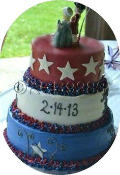 Our 4th of July Wedding Cake. Uncle Sam and Betsy Ross cake toppers. We were married on Valentine's Day because that's the day Hubs picked, but I wanted July 4th, so that's when we had our reception.  We had a 4th of July BBQ, just like I wanted. It was perfect. So absolutely perfect.