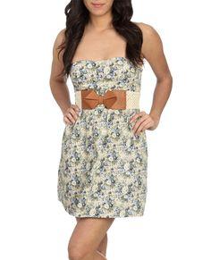floral belted tube dress
