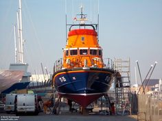 RNLI Plymouth Severn class lifeboat 17-35 Sybil Mullen Glover in Mountbatten boatyard in February 2012
