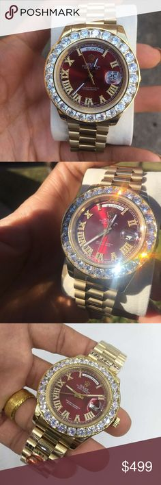 Red Face Diamond Watch -Automatic Movement -Big Diamonds -Brand New -Sapphire Glass -43 MM Big Face With Presidential Bracelet Accessories Watches