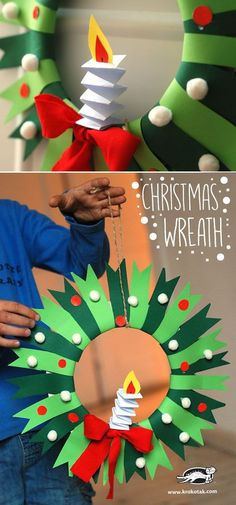 DIY Christmas Wreath - paper craft for kids