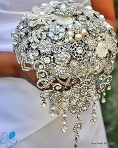 Brooch Bouquet with cascading rhinestones