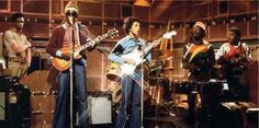 THE WAILERS in 1973 at the BBC studios during their first official promo tour in the UK...