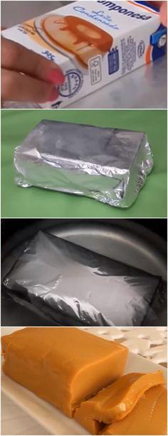 PASSO A PASSO DE COMO FAZER DOCE DE LEITE CONDENSADO DE CAIXINHA!! VEJA AQUI>>>Envolva a caixa do leite moça em papel alumínio Depois coloque a caixa em uma panela com água de modo que caixa fique totalmente submersa #receita#bolo#torta#doce#sobremesa#aniversario#pudim#mousse#pave#Cheesecake#chocolate#confeitaria