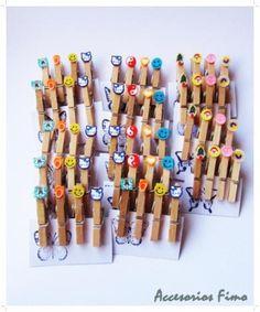 pinzas madera decoradas con fimo