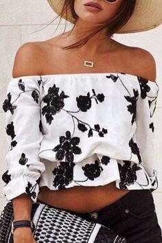 MODA 2016 Camicetta Floreale spalla scoperta Floral Off the Shoulder Blouse