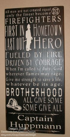 Firefighter Subway Wall Art, Firefighter Decor, Distressed Wall Decor, Custom Wood Sign, Firefighter, Typography Word Art - 12x24 on Etsy, $60.00  Can add name, badge number, station, dates of duty...  Awesome!