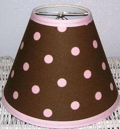 brown and pilk polka dot lamp shade