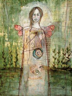 original Mixed Media Art Painting By Misty Mawn by MistyMawn Art Journal Inspiration, Art Painting, Art For Art Sake, Painting, Whimsical Art, Original Mixed Media Art, Painting Media, Collage Art, Angel Art