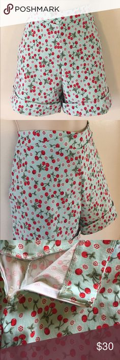 NWOT BETTIE PAGE CHERRY PRINT HIGH WAISTED SHORTS These adorable Bettie Page Teal Cherry print high waisted shorts are super comfy and perfect for any occasion. Brand New! Never Worn! Cuffed bottoms, back zipper, & hook and eye. Size 12. Bettie Page Shorts