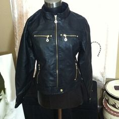 Black Faux leather jacket Brand new with tags never worn. Color: Black It fits like a smaller large. Ashley Premium Jackets & Coats
