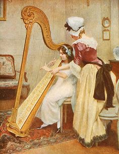 Philippar-Quinet, Jeanne Charlotte (19-20th century) - Girl Learns To Play Harp