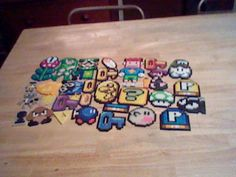 My brother's perler bead creations! So cool :] mario craft