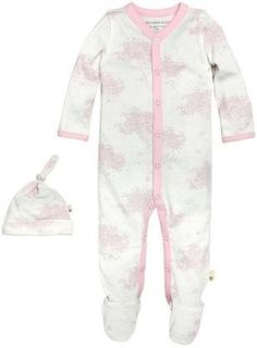 Burt's Bees Baby Toile Coverall And Hat Set (Baby) - Cherry Blossom NB