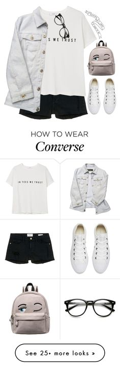 """In Tees We Trust"" by snowflake-city on Polyvore featuring Frame Denim, MANGO, Versace and Converse"