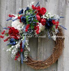 Patriotic Wreath, Americana Wreath, Fourth of July Decor, Memorial Day, Veterans Day, Summer Floral, Designer Wreath    Beacon Hill Patriotic