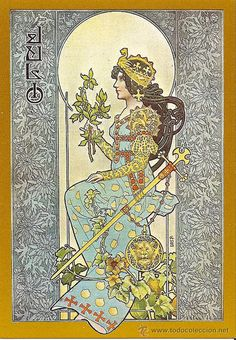 Alphonse Mucha, 24 July 1860 – 14 July was a Czech Art Nouveau painter and decorative artist, known for his distinct style. Gaspar Camps - Barcelone a Spanish artist, was greatly influenced by Mucha. Both brilliant in their own right. Art And Illustration, Girl Illustrations, Art Nouveau Mucha, Art Nouveau Poster, Vintage Posters, Vintage Art, Art Deco Artwork, Retro, Jugendstil Design