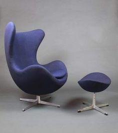 Arne Jacobsen's egg chair and ottoman (1958).