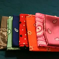 Bandanas 7 bandanas. Multiple colors.  Grey Royal blue Mint green Neon pink Pink Red with navy blue & white stars Bright orange  Hardly used . Some new.  Can make a separate listing if you do not want all bandanas. Accessories Scarves & Wraps