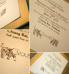 elephant themed wedding invitations - Google Search Michelle Michaels, Whimsical Wedding Invitations, Bridal Decorations, Elephant Wedding, Place Card Holders, Google Search, Elephants, Invites, Weddings