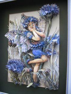 3 d paper fairy art 3d Paper Art, Paper Clay, Clay Art, Paper Crafts, Diy Paper, Kirigami, L'art Du Ruban, Collage Art Mixed Media, Decoupage Art