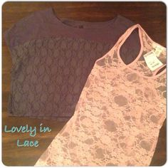 Lovely in Lace Top Bundle of Two Two tops - one pink lace fitted racerback tank top NWT by Bozzolo (Size Small) and one dark grey lace crop t-shirt NWOT by UK Style French Connection (Size XS) Great deal for two new tops at one great price! Tops