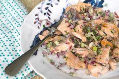 La versatilidad del salmón. Ensalada templada de salmón. © Cortesía de Yomemimo.