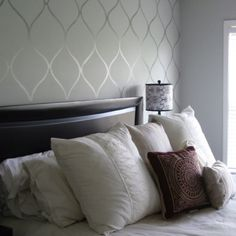 accent wall with clear contact paper. Peel and stick, easily removable and re-usuable.
