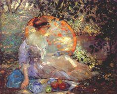 Karl Albert Buehr (German-born American Painter, 1866-1952) Red Headed Girl with a Parasol       Karl Albert Buehr (German-born American...