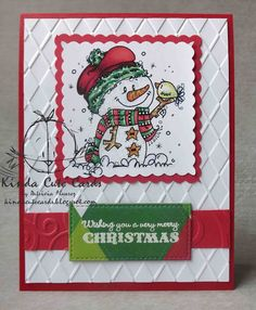 Cute Christmas card using a Bugaboo image of a snowman. Check my blog! I have tons of cards colored with Spectrum noir markers!