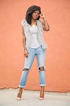 Style Pantry | Faux Fur Vest + Tank + Boyfriend Jeans waysify
