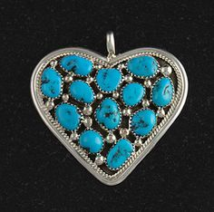 Sterling Silver Turquoise Heart Pendant Native American Navajo Jewelry | eBay