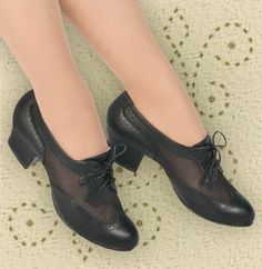 Aris Allen Women's Black 1950s Mesh Wingtip Swing Dance Shoes – dancestore.com