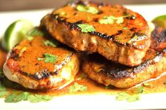Creamy Smoky Chipotle Pork Chops: pork chops, spices, canned coconut milk, liquid smoke, lime, olive oil.