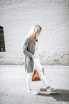 Shades of grey + white + sneakers for spring.