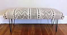 Boho Mudcloth Upholstered Bench on Chairish.com