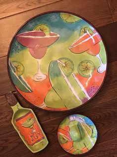 VERY COLORFUL MARGARITA MAMBO HAND PAINTED DISH SET (Household) in Lake Stevens, WA - OfferUp