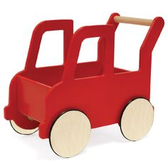 Keep on truckin'. Fill your Truck Push Cart up with lots of goodies and keep pushing along. The storage area of this wooden infant toy is wide enough to hold a number of play toys. Tall enough for little hands to reach and hold, it's a cute way to balance as first steps are taken. Even after walking, this cart is a great way to tote much-loved toys around.