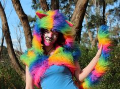 FUN! Rainbow Furry Cat Outfit