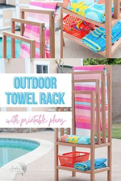 Add a DIY outdoor towel rack to your backyard with this easy and quick build. The step by step tutorial and plans show you how to build a towel rack with shelves. It is the perfect poolside towel holder. It can also be used indoors as a freestanding towel rack. #towelrack #outdoorfurniture #AnikasDIYLife Woodworking Furniture Plans, Woodworking Projects That Sell, Beginner Woodworking Projects, Diy Woodworking, Diy Outdoor Furniture, Diy Furniture Projects, Furniture Makers, Kreg Jig Projects, Scrap Wood Projects