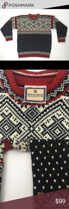 """Dale of Norway Classic Wool Sweater Red Blue cream Classic sweater. High quality. Made of thick, pure wool. Made in Norway. Classic design. Pullover style. Very good condition. No rips, stains, holes or pulls.  Slight pilling as with all wool products. Shoulders 23.5"""", hem 19"""", length 25"""", chest 22.5"""", Sleeve 18.25"""".  No size listed but measurements are typical for a medium. Unisex.  Please compare these measurements to something in your closet to make sure it will fit. Dale of Norway…"""