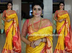 actress poorna yellow pattu saree bhavana naveen wedding photo