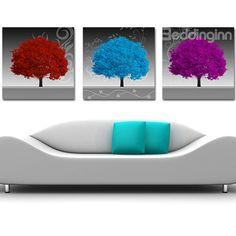 Wonderful 3-Piece Colorful Trees Crystal Film Art Wall Print