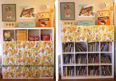 Hide ugly kiddo storage with DIY curtains! (c/o Danielle Thompson)