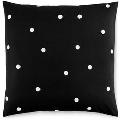 kate spade new york Deco Dot Black European Sham ($42) ❤ liked on Polyvore featuring home, bed & bath, bedding, bed accessories, pillows, home decor, black, black polka dot bedding, polka dot bedding and kate spade bedding