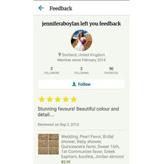 Thank you for adding a Customer review to my Etsy Page Jennifer!! TO SCOTLAND, UK for a wedding .. #koufeta #jordanalmondfavor #weddingfavor #italianwedding #italianweddingfavors #greekwedding #GreekOrthodoxwedding #GreekBaptism #greekweddingfavors #christeningfavors #engagementpartyfavor #bridalshowerfavor #babyshowerfavors #bomboniera #bombonieres #kerasma #brideandgroom #mrandmrs #bridetobe #quinceanerafavors #1stcommunionfavor #sweet16favors #birthdayfavors #favors…