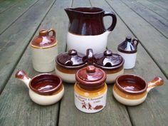 Vintage Assortment of Stoneware Crocks, Jugs, Pitcher, Bowls, Condiment Set. $18.00, via Etsy. Condiment Sets, Stoneware Crocks, Raiders, Bowls, Lost, Unique Jewelry, Handmade Gifts, Vintage, Decor